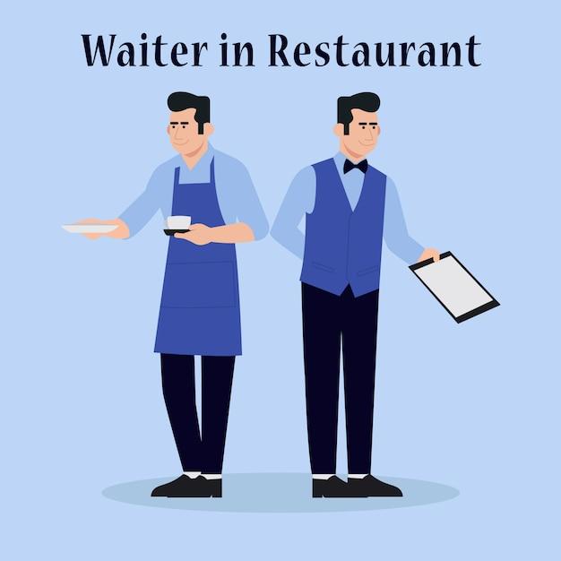 Cameriere nell'illustrazione semplice di vettore del ristorante Vettore Premium