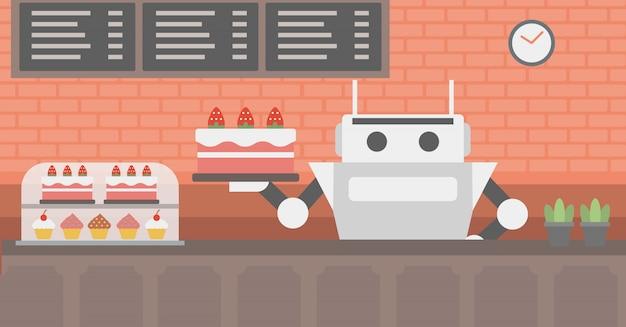 Cameriere robot che lavora in pasticceria. Vettore Premium