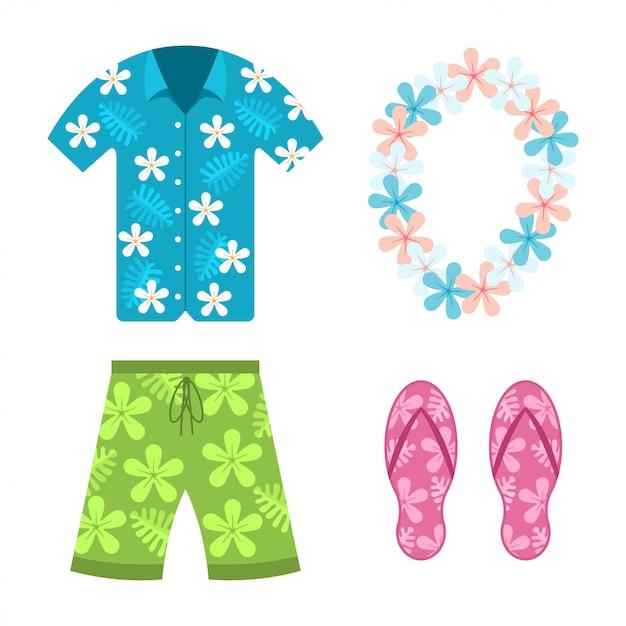 Camicia hawaiana, pantaloncini estivi da spiaggia Vettore Premium