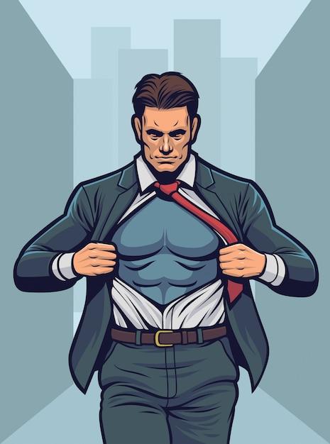 Camicia strappante da supereroe. Vettore Premium