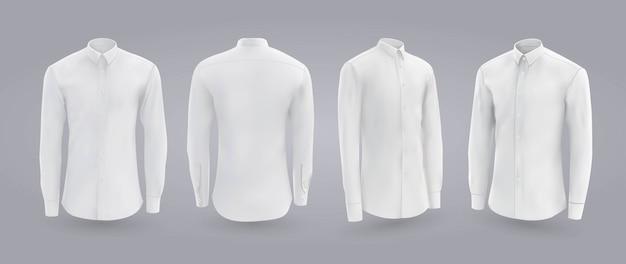 Camicia uomo bianca con bottoni davanti, vista posteriore e laterale. Vettore Premium