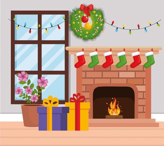 Camino con decorazioni natalizie Vettore Premium