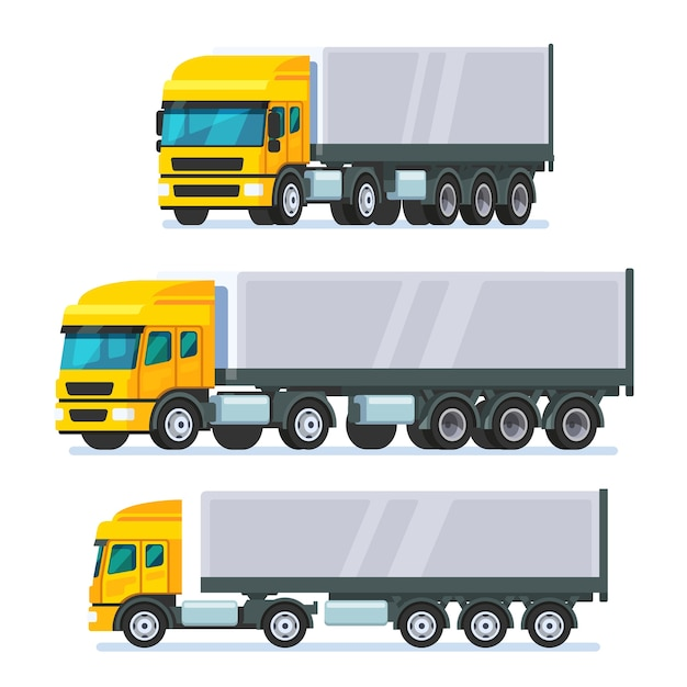 Camion camion articolato con naso piatto moderno Vettore gratuito
