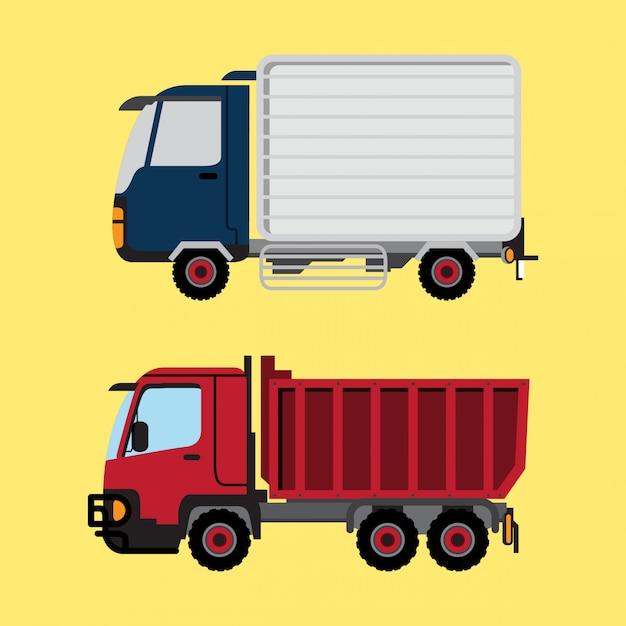 Camion della scatola e camion rosso Vettore Premium