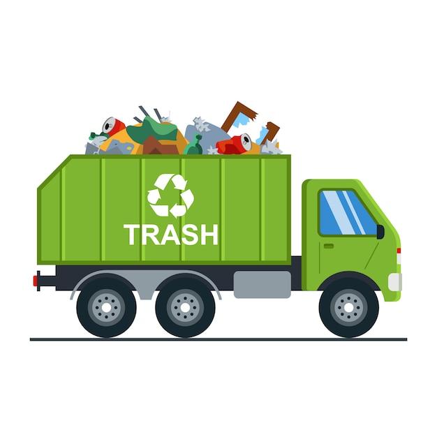 Camion della spazzatura con immondizia va alla discarica. Vettore Premium
