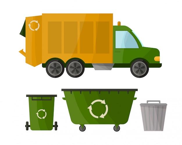 Camion della spazzatura e vari tipi di bidoni della spazzatura Vettore Premium