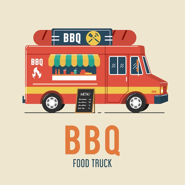 Camion di alimento del barbecue Vettore Premium