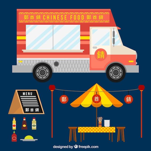 Camion di cibo cinese in design piatto scaricare vettori for Cibo cinese menu