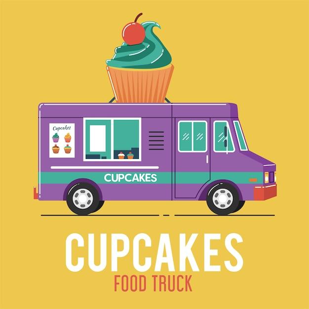 Camion di cibo cupcakes Vettore Premium