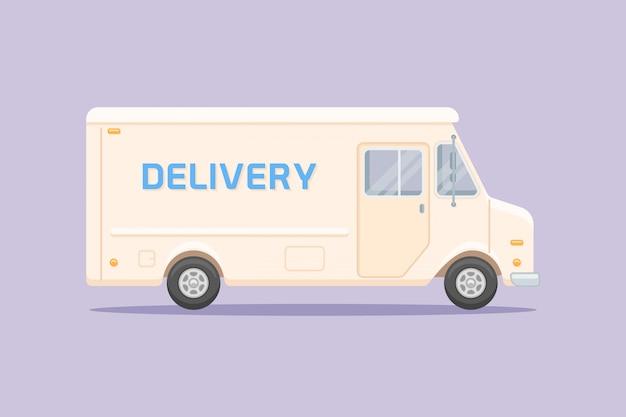 Camion di consegna stile piatto Vettore Premium