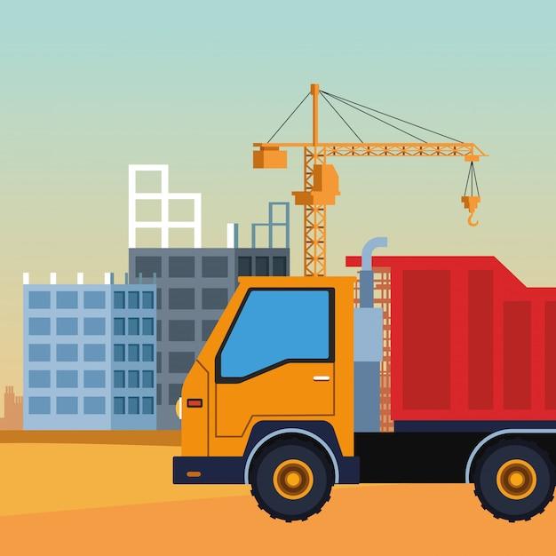 Camion di costruzione su uno scenario in costruzione, design colorato Vettore Premium