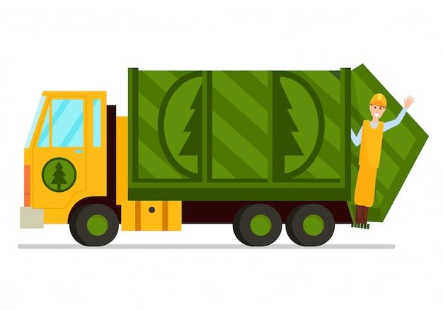 Camion di immondizia e illustrazione del lavoratore di risanamento Vettore Premium