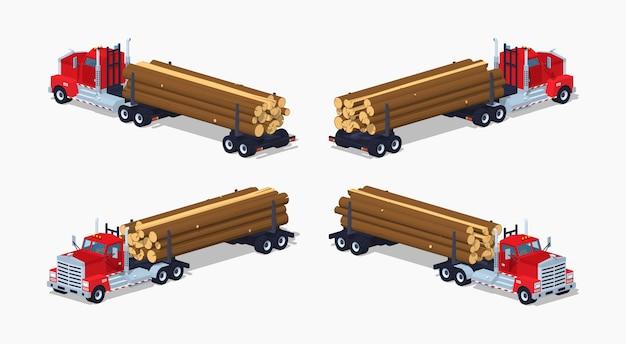 Camion di registro isometrico lowpoly 3d con la pila di registri Vettore Premium