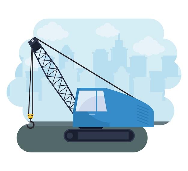 Camion in costruzione della gru con paesaggio urbano Vettore Premium