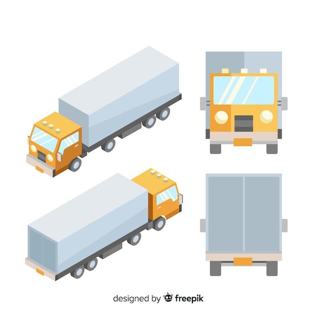 Camion isometrica in diverse viste Vettore gratuito