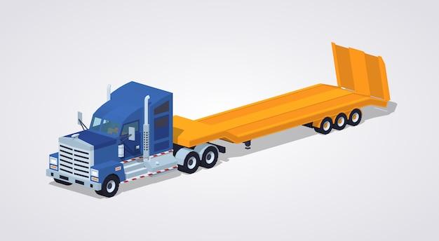 Camion pesante blu con rimorchio a pianale ribassato giallo Vettore Premium