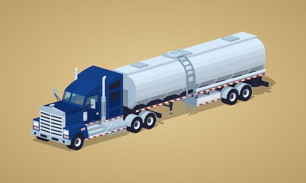 Camion pesante blu scuro con rimorchio cisterna d'argento Vettore Premium