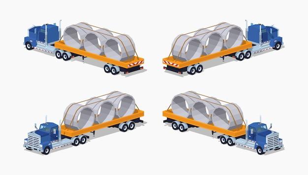 Camion pesante isometrico 3d lowpoly Vettore Premium