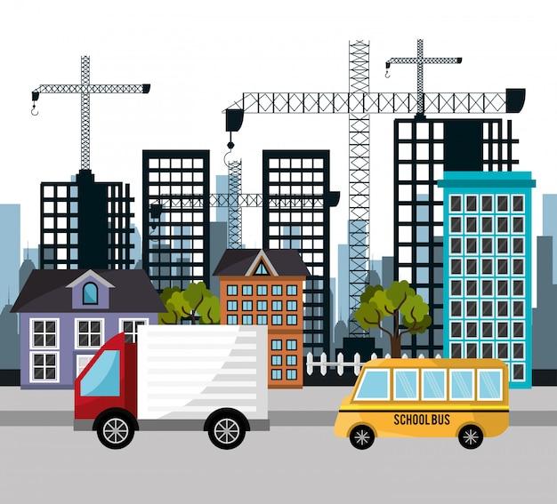 Camion scuolabus gru edificio della città Vettore gratuito
