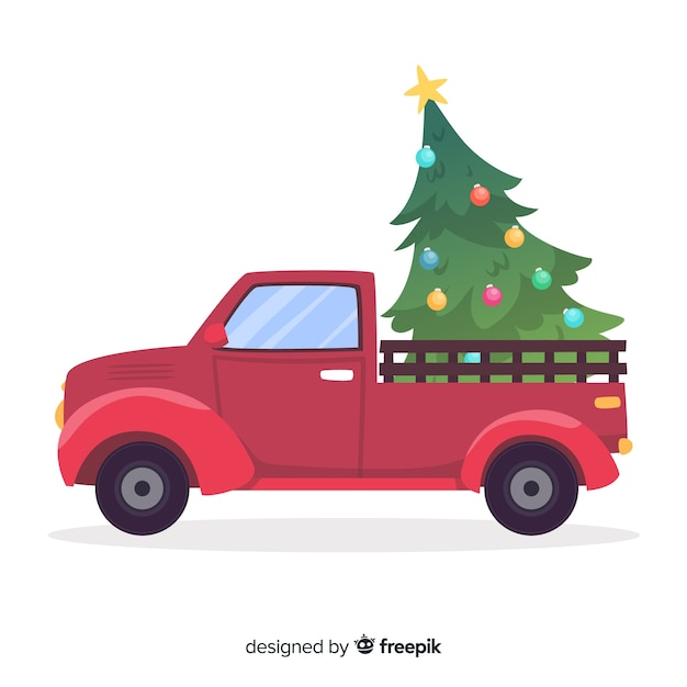Camioncino con albero di natale Vettore gratuito