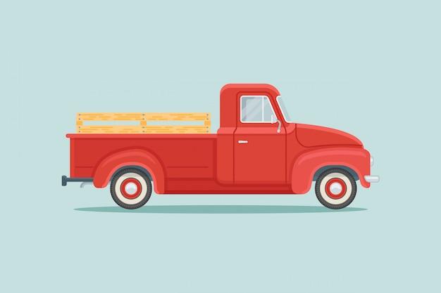 Camioncino rosso retrò stile piano Vettore Premium