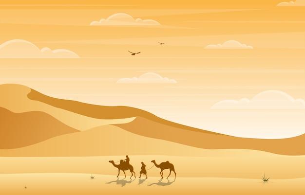 Cammello rider crossing vast desert hill arabian landscape illustration Vettore Premium