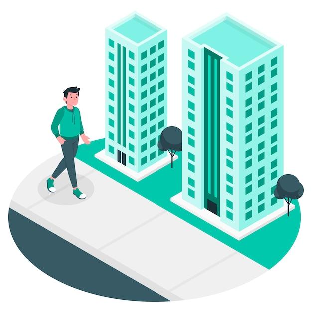 Cammina nel concetto di illustrazione della città Vettore gratuito