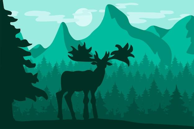 Camminando cervi selvatici nella foresta di montagna di notte Vettore Premium