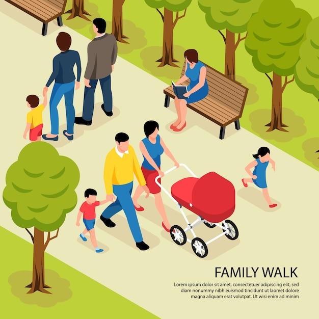 Camminata della famiglia isometrica con i giovani genitori che camminano nel parco della città con il figlio neonato e piccolo Vettore gratuito
