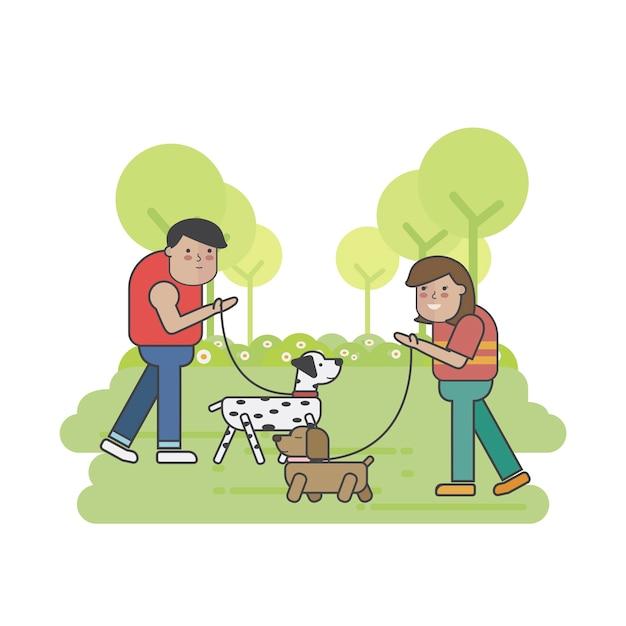 Camminatori del cane che si incontrano nel parco Vettore gratuito