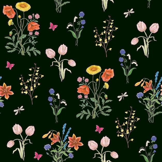 Camomilla di papavero fiori di campo fiore di tarassaco tarassaco delicato fiori di campo Vettore Premium