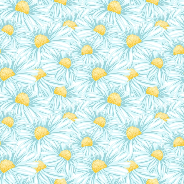 Camomilla o daisy seamless pattern Vettore gratuito