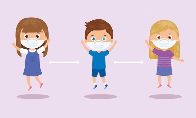 Campagna di distanze sociali per il 2019 ncov con bambini che usano il disegno dell'illustrazione della maschera facciale Vettore gratuito