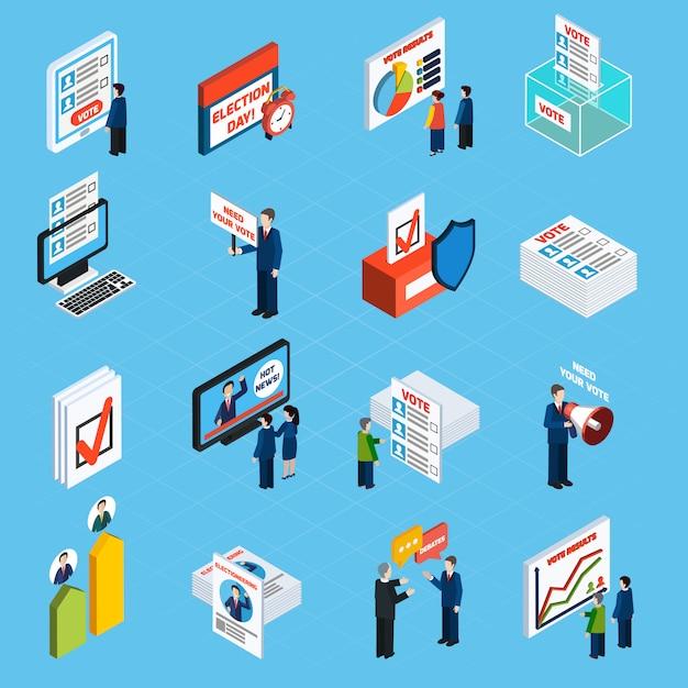 Campagna elettorale e icone isometriche di voto Vettore gratuito