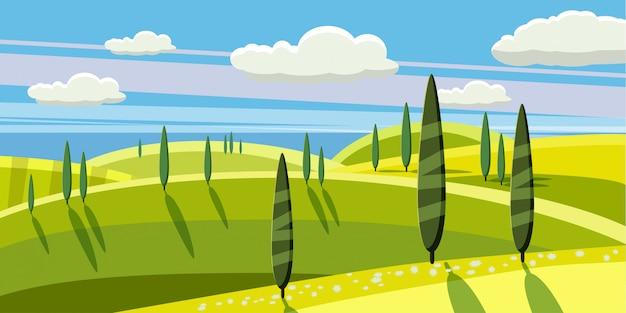 Campagna incantevole, fattoria, villaggio, mucche al pascolo, pecore, fiori, nuvole, stile cartoon, illustrazione vettoriale Vettore Premium