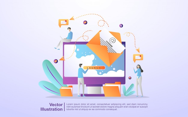 Campagna pubblicitaria e-mail, e-marketing, raggiungendo il pubblico di destinazione con e-mail Vettore Premium