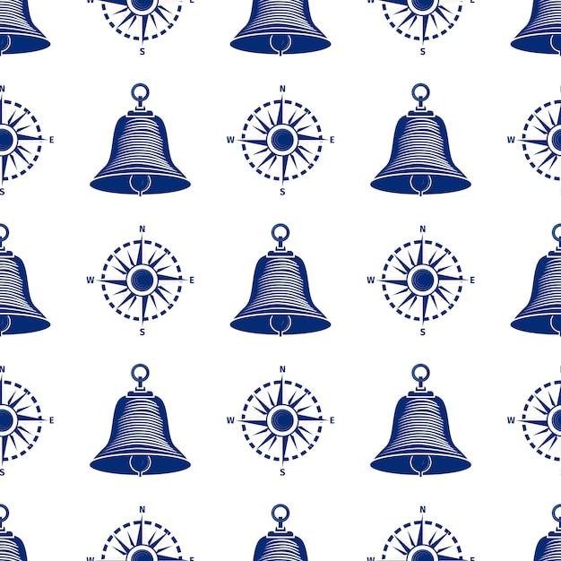 Campana di navigazione per barche senza cuciture Vettore Premium