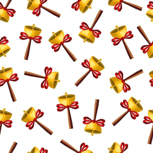 Campane di natale in oro con fiocchi seamless. carta da parati vacanza vettoriale Vettore Premium