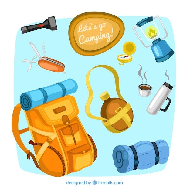 Campeggio attrezzature illustrazioni Vettore gratuito