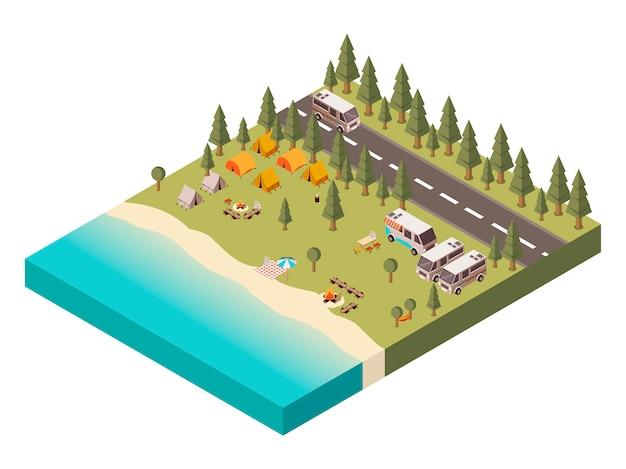 Campeggio con strada illustrazione isometrica Vettore gratuito