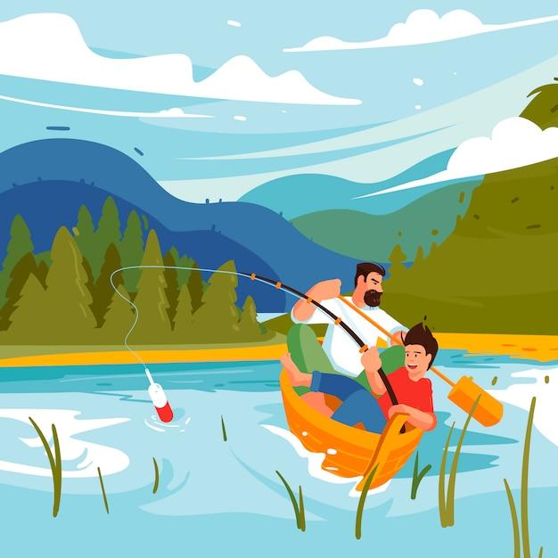 Campeggio di pesca familiare. illustrazione di concetto di avventure della famiglia, padre e figlio. posto per godersi la vita all'aria aperta. ragazzi che pescano in una barca su un lago su uno sfondo di montagne, parco nazionale. Vettore Premium
