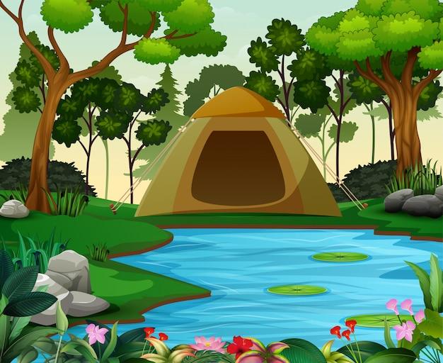 Campeggio in uno splendido paesaggio naturale Vettore Premium