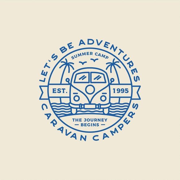 Campeggio loghi all'aperto e avventura, badge, etichette, emblemi, marchi ed elementi di design. arte grafica. . Vettore Premium
