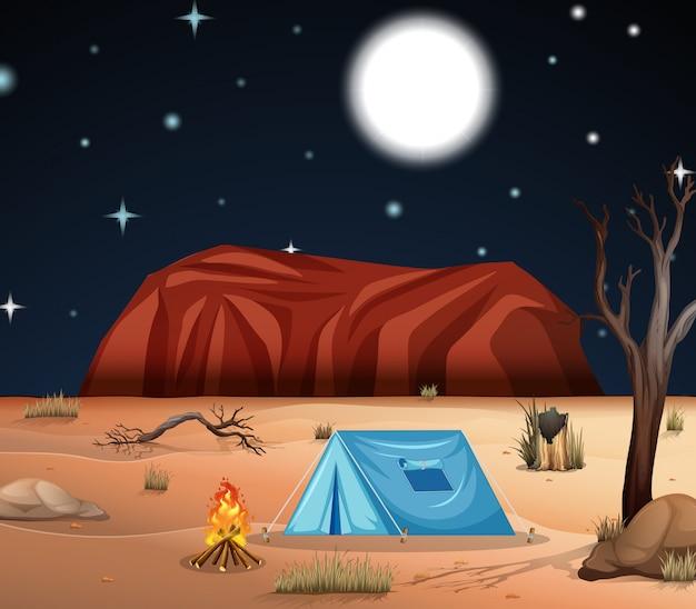 Campeggio nel deserto Vettore gratuito