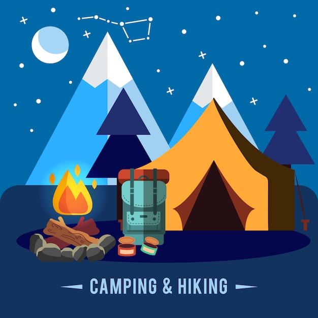 Campeggio set piatto con attrezzature da trekking e icone di cottura all'aperto Vettore gratuito