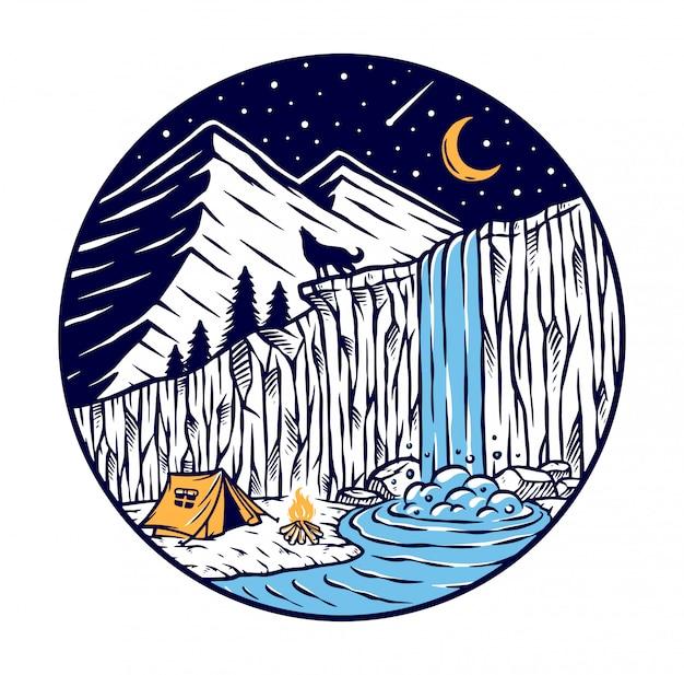 Campeggio vicino a una cascata Vettore Premium