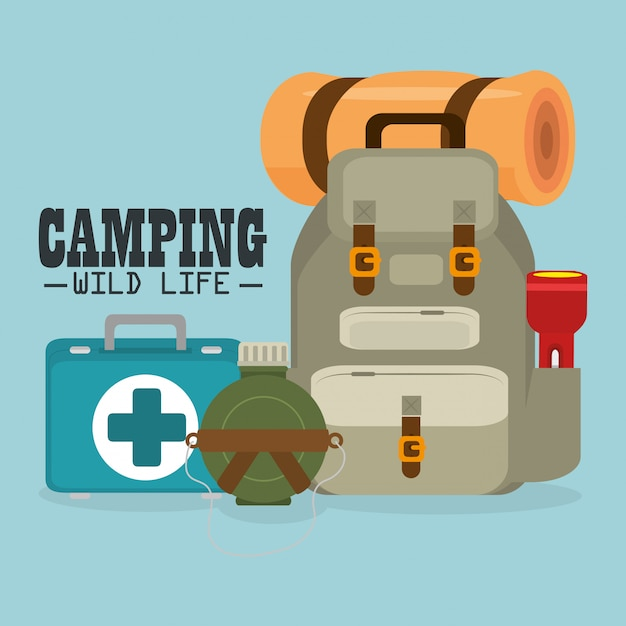 Campeggio vita selvaggia con attrezzatura Vettore gratuito