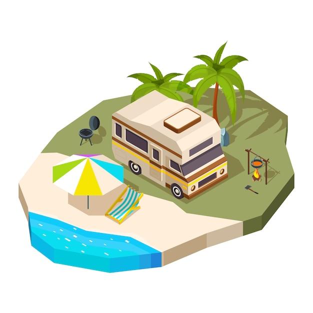 Camper al mare. Vettore Premium