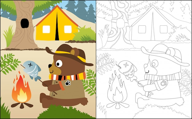 Camping cartoon con orso divertente Vettore Premium