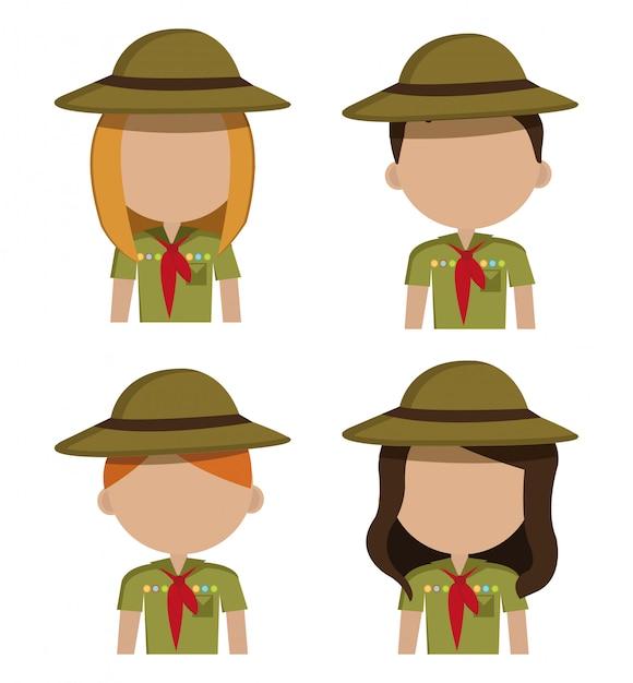 Camping design, illustrazione. Vettore gratuito